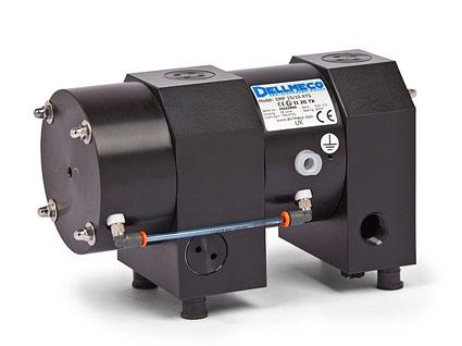 Серия DMF  мембранных пневматических насосов Dellmeco со встроенным демпфером пульсации и с двумя отдельными рабочими камерами